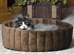 Kitty Kup Cat Bed, Size Small Mocha / Tan With Heater