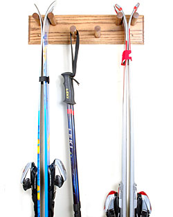 Oak Two Pair Skis Amp Poles Storage Racks Wall Mount