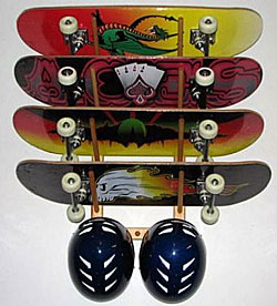delsol wall mounted angle skateboard rack