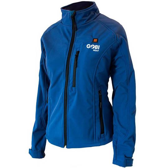 Womens Heated Clothing >> Sahara 3 Zone Heated Jacket For Women Blue Winter Zip Up Coat