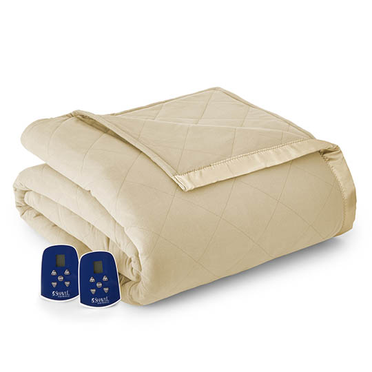 Micro Flannel Quilted Electric Blanket, Twin Size, Chino