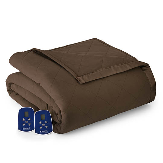 Micro Flannel Quilted Electric Blanket, Full Size, Chocolate