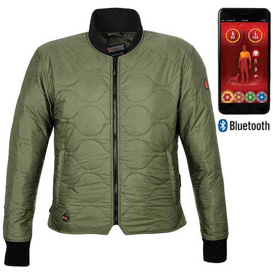 Battery Heated Clothing Heated Coats Clothes Cozywinters >> Company Mens Battery Heated Jacket With Bluetooth Olive