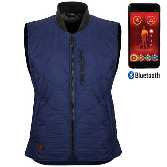 Battery Heated Clothing Heated Coats Clothes Cozywinters >> Company Womens Battery Heated Vest With Bluetooth Dark Navy