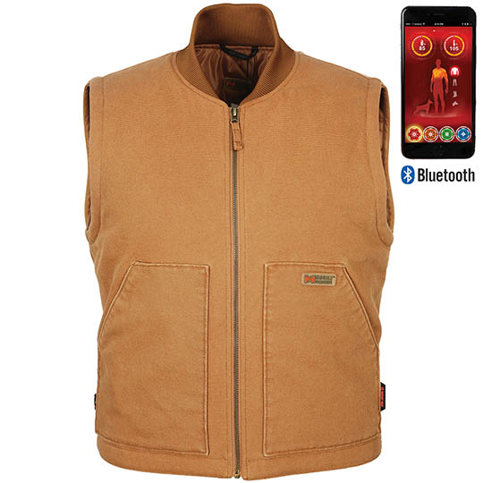 Battery Heated Clothing Heated Coats Clothes Cozywinters >> Foreman Mens Battery Heated Work Vest With Bluetooth Khaki