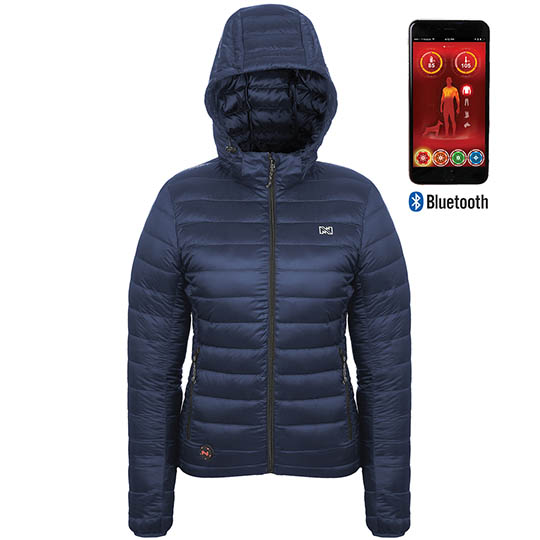 Battery Heated Clothing Heated Coats Clothes Cozywinters >> Ridge Womens Battery Heated Duck Down Jacket With Bluetooth Dark Navy