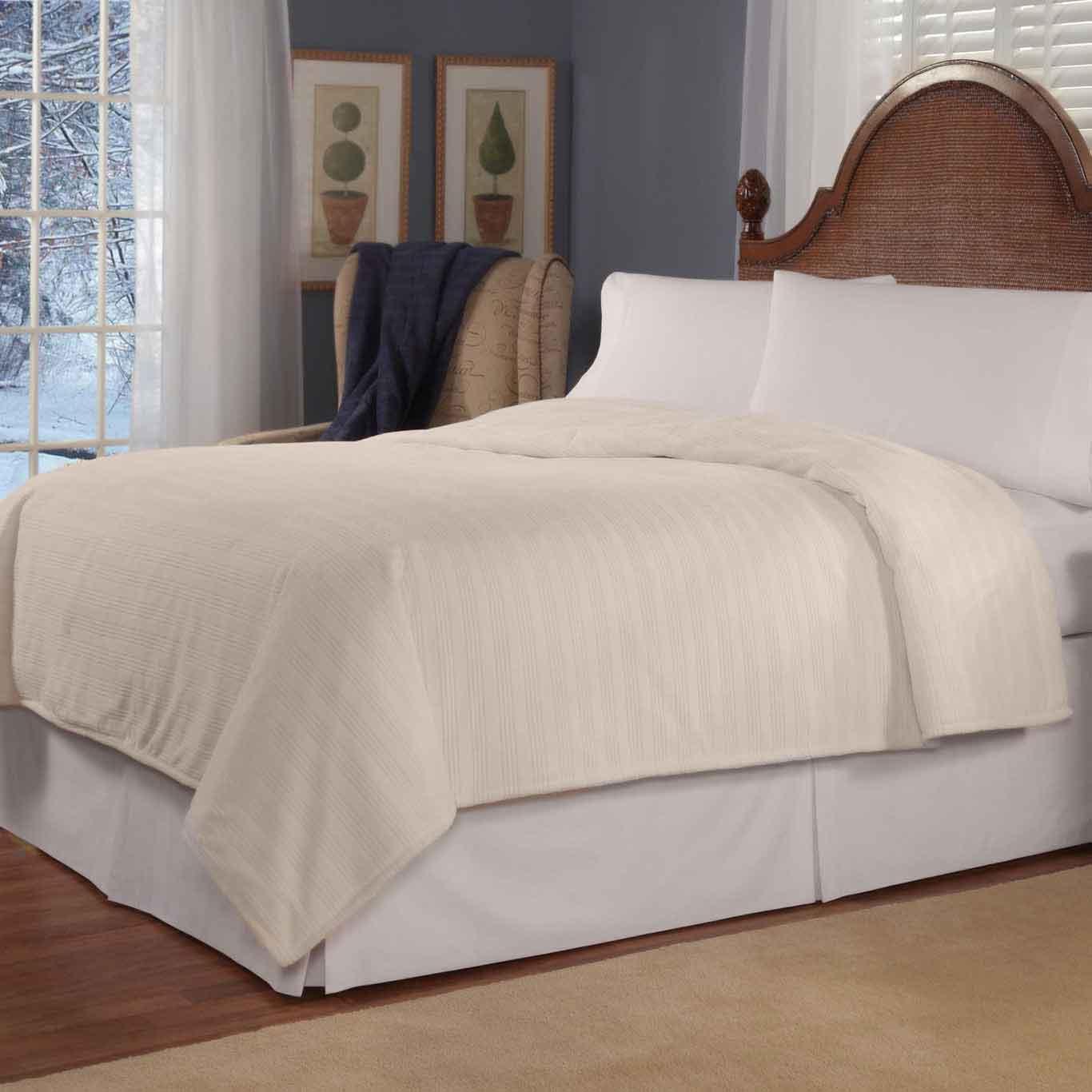 Soft Heat Micro-plush Tri-stripe Low Voltage Electric Blanket, Twin, Natural