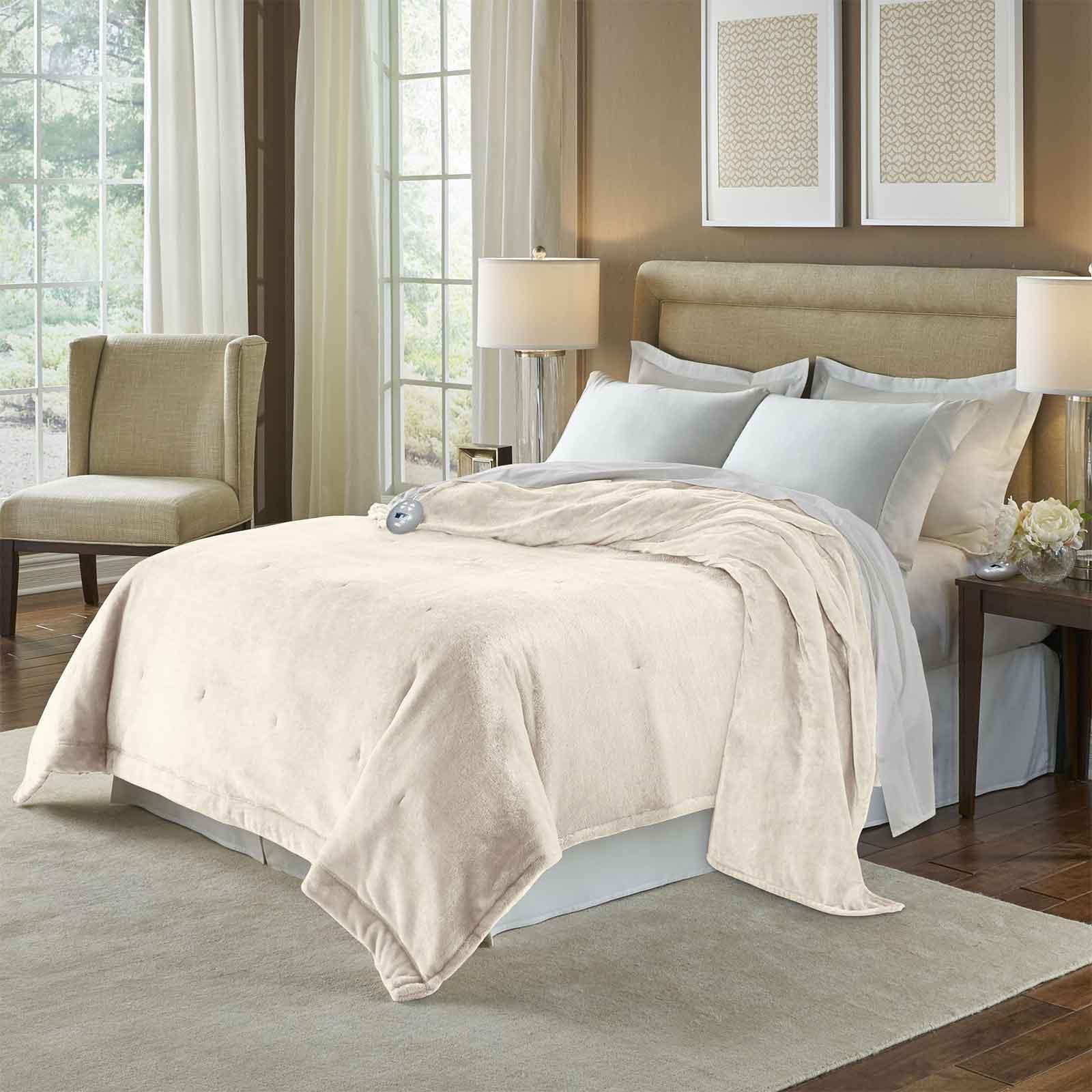 Soft Heat Velvet Plush Electric Blanket, Twin, Natural Vanilla